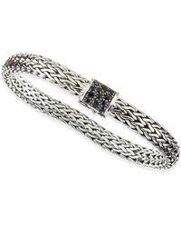 John Hardy Mens Classic Chain Silver Lava Medium Bracelet with Black Sapphire - Lyst