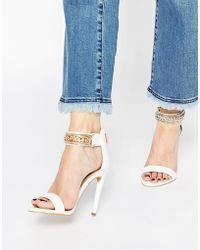 5a384cc7c3e Forever Unique - Totem Embellished Barely There Leather Heeled Sandals -  Lyst