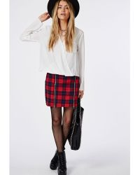 Missguided Lolah Crepe Wrap Over Blouse Ivory - Lyst