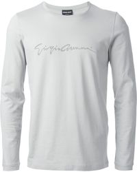 Giorgio Armani Studded Logo T-Shirt gray - Lyst