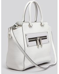 MILLY Tote - Riley Metallic Zipper - White