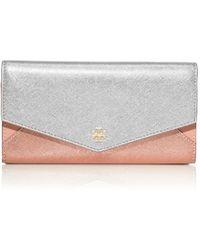 Tory Burch Metallic Color-block Envelope Continental Wallet - Lyst