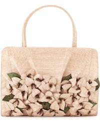 Nancy Gonzalez Large Crocodile Flower Satchel Bag - Lyst