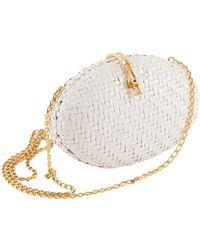 Rodo Woven Wicker Clutch Bag - White
