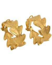 Lanvin Lanvin Large Hoop Clip Earrings Gilt Leaves - Metallic