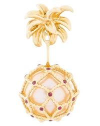 Yvonne Léon 's Pineapple Stud And Ear-jacket In 18 Karat Gold With Pearl And Ruby - Metallic