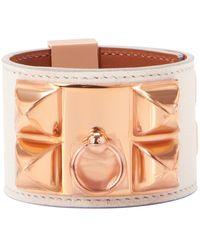 Hermès Hermes Blanc Collier De Chien Cdc Cuff Bracelet Swift Rose Gold - White