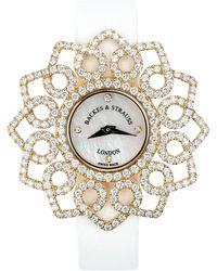 Backes & Strauss Victoria Snowdrop Luxury Diamond Watch For Women Rose Gold - Red