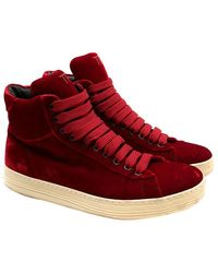 Tom Ford Russel Velvet High-top Sneakers - Size Eu 37 - Red