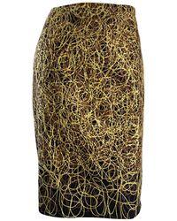 JC de Castelbajac Vintage Jean - Charles De Castelbajac Embroidered ' Scribble ' Pencil Skirt - Metallic
