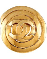 Chanel Gold Cc Spiral Pin - Metallic