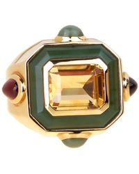 Chanel Paris Citrine Jade Gold Cocktail Ring - Green