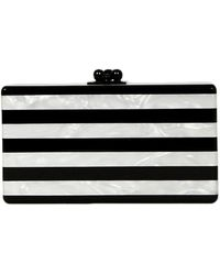 Edie Parker Black/white Stripe Acrylic Marble Minaudiere Clutch Bag - Gray