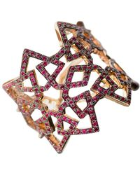 Ralph Masri Arabesque Deco Rose Gold Ruby Ring - Red