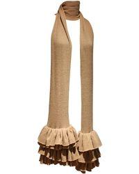 Preen By Thornton Bregazzi Camel Ruffled Rib Knit Extra Long Scarf, C. 1990s - Brown