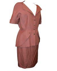 Thierry Mugler 1980's Short Sleeve Skirt Suit - 44 - Brown