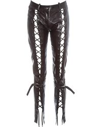 Dior By John Galliano Leather Lace Up Pants, Fw 2003 - Brown