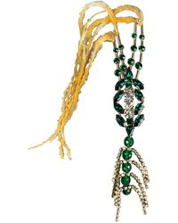 Dries Van Noten All Too Human & Gold Rhinestones Feathers Brooch - Green
