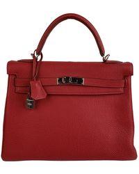 Hermès Hermes Leather Retourne Kelly 32 Top Handle Bag - Red