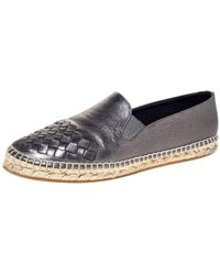 Bottega Veneta Metallic Leather Intrecciato Leather Espadrille Sneakers Size 38 - Multicolor