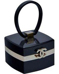 Chanel Rare Vintage Mini Trunk Vanity Case Minaudire Lucite Small Clutch - Black
