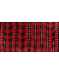 Alexander McQueen Black Tartan Cashmere Muffler Shawl Scarf - Red