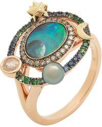 Bibi Van Der Velden 18k Rose And Gold Opal Brown Diamond Sapphire Pearl Small Galaxy Ring - Yellow