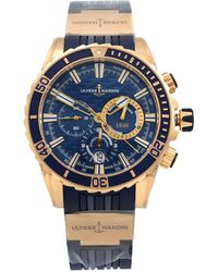 Ulysse Nardin 18k Rose Gold Rubber Blue Dial Automatic Mens Watch 1502-151/93 - Red