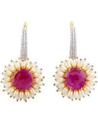 Meghna Jewels Ruby Pearl Diamond 18 Karat Gold Earrings - Metallic