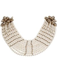 Chanel - Multistrand Pearl Bib Runway Necklace - Lyst