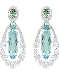 Meghna Jewels 22.75 Carat Paraiba Tourmaline Diamond 18 Karat Gold Earrings - White