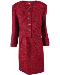 Christian Lacroix Vintage Mohair Wool Boucle Tweed Skirt Suit - Red