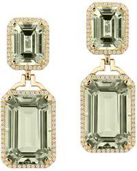 Goshwara Prasiolite Emerald Cut With Diamond Earrings - Green