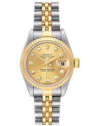 Rolex Datejust Steel Gold Diamond Dial Ladies Watch 79173 - Yellow