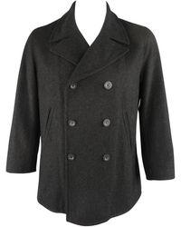 Jil Sander Coat - Size Us 42 Charcoal Wool Double Breasted Peacoat - Black