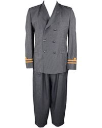 Jean Paul Gaultier Size 40 Navy Pinstripe Linen / Mohair Double Breasted Suit - Blue