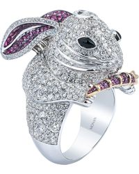 Monan 18k Gold Another World 4.69ct Diamond Ring With 1.17ct Of Sapphires - Pink