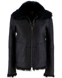 Jil Sander Fur Lined Leather Jacket - Size Us 4 - Black