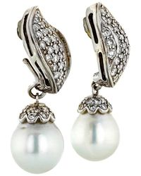 Seaman Schepps Diamond Pe 18 Karat Gold Drop Earrings - White