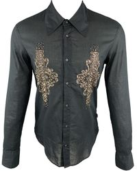 Roberto Cavalli Just Cavalli Size M Embellishment Cotton Button Up Long Sleeve Shirt - Black