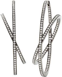 Eva Fehren Large Orbit Hoop Earrings In 18 Karat Blackened Gold - White
