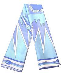 Emilio Pucci Pucci Geometric Silk Square Scarf Vintage - Blue