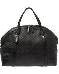 Gucci Micro Ssima Leather Nice Satchel - Black