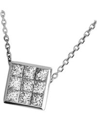Tasaki Invisible Setting 0.61 Carat Diamond 18 Karat Gold Pendant Necklace - White