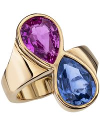 Sabbadini Blue And Sapphire Gold Ring - Pink