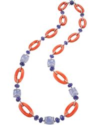 Sabbadini Long Gold Necklace, Coral, Chalcedony, Tanzanite And Diamonds - White