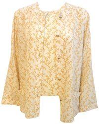 Chanel 2pc Cream/yellow Silk Blouse And Tank Set - Orange