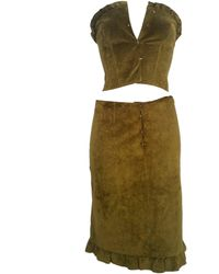 Alberta Ferretti - 1990s Leather Top And Skirt - Lyst