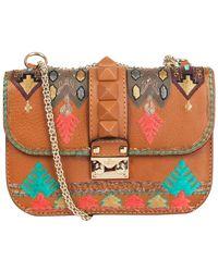 Valentino Garavani Leather Glam Lock Small Embroidered Shoulder Bag - Brown