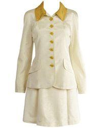 Christian Lacroix Vintage Ivory Faille & Gold Lam Two Piece Skirt Suit, 1990s - White